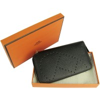 Hermes H016A Long Punching H Wallet Black
