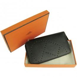 Hermes H016A Long Punching H Wallet Black