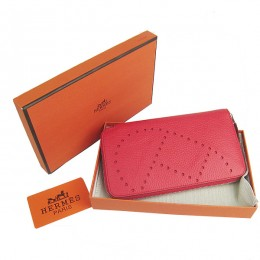 Hermes H016A Long Punching H Wallet Red