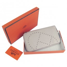 Hermes H016A Long Punching H Wallet Gray