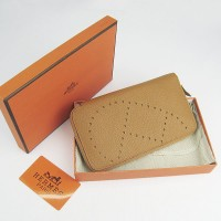 Hermes H016A Long Punching H Wallet Light Coffee