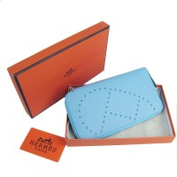 Hermes H016A Long Punching H Wallet Light Blue