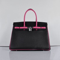 Hermes 6089 Birkin 35CM Tote Bags Black and Pink Leather Silver