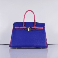 Hermes 6089 Birkin 35CM Tote Bags Navy Blue and Pink Leather Gold