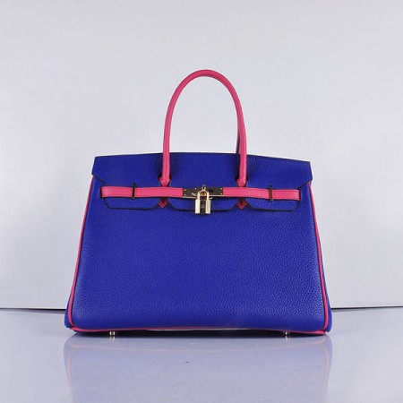 64fe3eee96 Hermes 6089 Birkin 35cm Tote Bag Navy Blue And Pink Leather Gold For ...