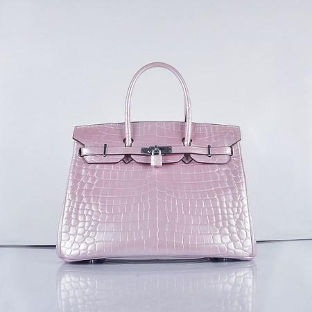 b05ba933ce Hermes Birkin 35Cm Crocodile 6089 Head Stripe Bags Pearly Pink Silver ...