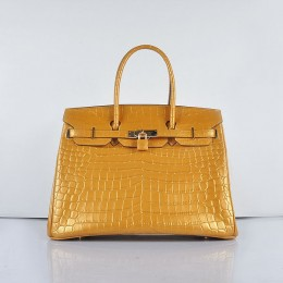 Hermes Birkin 35Cm Crocodile 6089 Head Stripe Yellow Bags Pearly Pink Glod