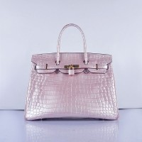 Hermes Birkin 35Cm Crocodile 6089 Head Stripe Bags Pearly Pink Gold