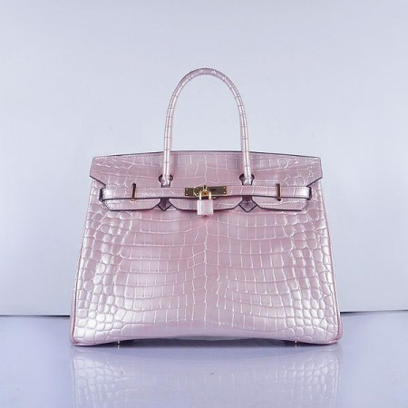 44696d9ed5 ... spain hermes birkin 35cm crocodile 6089 head stripe bags pearly pink  gold ad85f 5b2a7