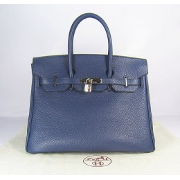 Hermes Birkin 35Cm Togo Leather Handbags Dark Blue Silver