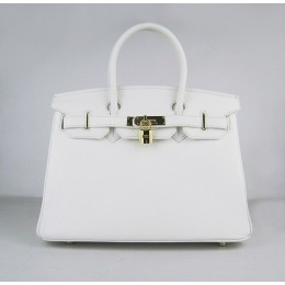 Hermes Birkin 35Cm Togo Leather Handbags White Glod