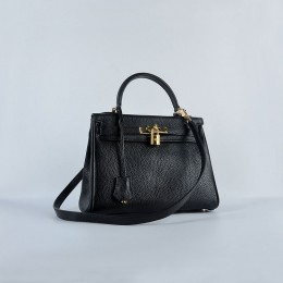 Hermes Kelly 28Cm Togo Leather Handbag Black Gold