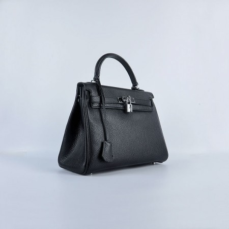 Hermes Kelly 28Cm Togo Leather Handbag Black Silver