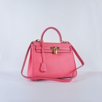 Hermes Kelly 28CM Tote Leather Bag Pink lipstick Gold