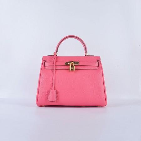 Hermes Kelly 28CM Tote Leather Bag Pink lipstick Gold