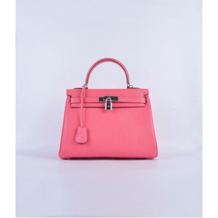 Hermes Kelly 28CM Tote Leather Bag Pink lipstick Silver
