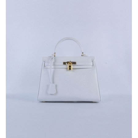 Hermes Kelly 28Cm Togo Leather Handbag White Gold