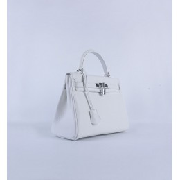 Hermes Kelly 28Cm Togo Leather Handbag White Silver