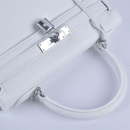 Hermes Kelly 28Cm Togo Leather Handbag White Silver