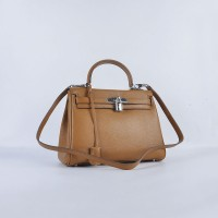 Hermes Kelly 28Cm Togo Leather Light Coffee Silver