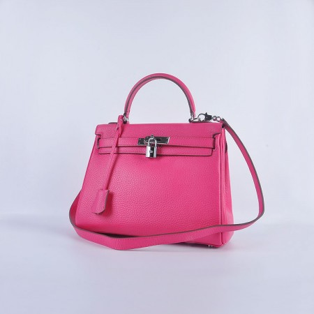 Hermes Kelly 28Cm Togo Leather Red Wine Silver
