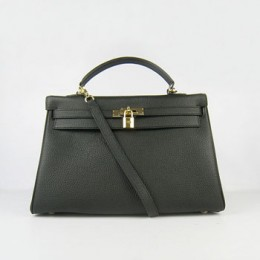 Hermes Kelly 35Cm Togo Leather Handbag Black/Gold