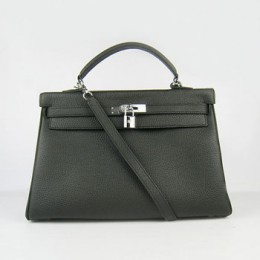 Hermes Kelly 35Cm Togo Leather Handbag Black/Silver