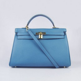 Hermes Kelly 35Cm Togo Leather Handbag Blue/Gold