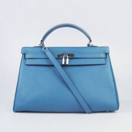Hermes Kelly 35Cm Togo Leather Handbag Blue/Silver