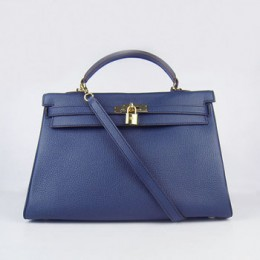 Hermes Kelly 35Cm Togo Leather Handbag Dark Blue/Gold