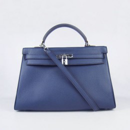Hermes Kelly 35Cm Togo Leather Handbag Dark Blue/Silver