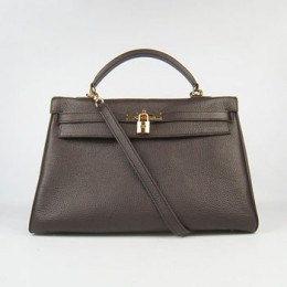 Hermes Kelly 35Cm Togo Leather Handbag Dark Coffee/Golde