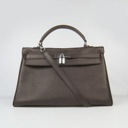 Hermes Kelly 35Cm Togo Leather Handbag Dark Coffee/Silve