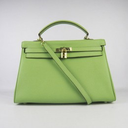 Hermes Kelly 35Cm Togo Leather Handbag Green/Gold