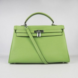Hermes Kelly 35Cm Togo Leather Handbag Green/Silver