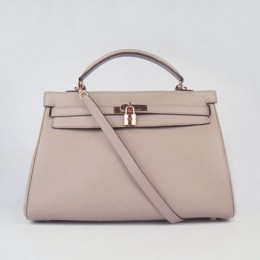 Hermes Kelly 35Cm Togo Leather Handbag Grey/Gold
