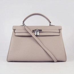 Hermes Kelly 35Cm Togo Leather Handbag Grey/Silver