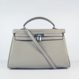 Hermes Kelly 35Cm Togo Leather Handbag Khaki/Silver