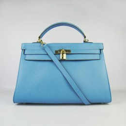 Hermes Kelly 35Cm Togo Leather Handbag Light Blue/Gold