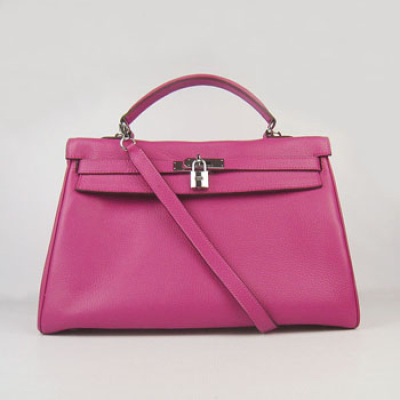 f9ae35b3f8 Hermes Kelly 35Cm Togo Leather Handbag Peach Silver ...