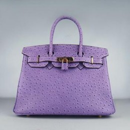 Hermes Birkin 30CM Ostrich Stripe Purple Gold
