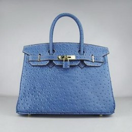 Hermes Birkin 30CM Ostrich Stripe Medium Blue Gold