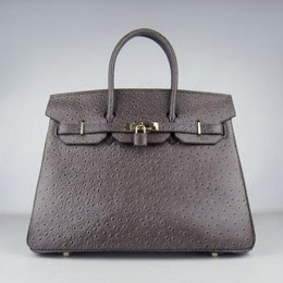 Hermes Birkin 35CM Ostrich Stripe Saddle Brown Gold