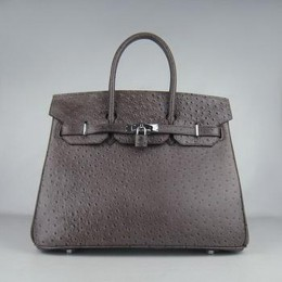 Hermes Birkin 35CM Ostrich Stripe Saddle Brown Silver