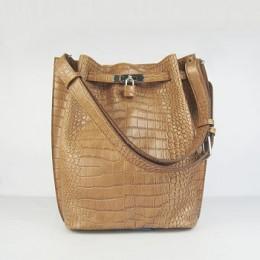 Hermes So Kelly 24cm Crocodile vein Shoulder Bag light coffee Silver