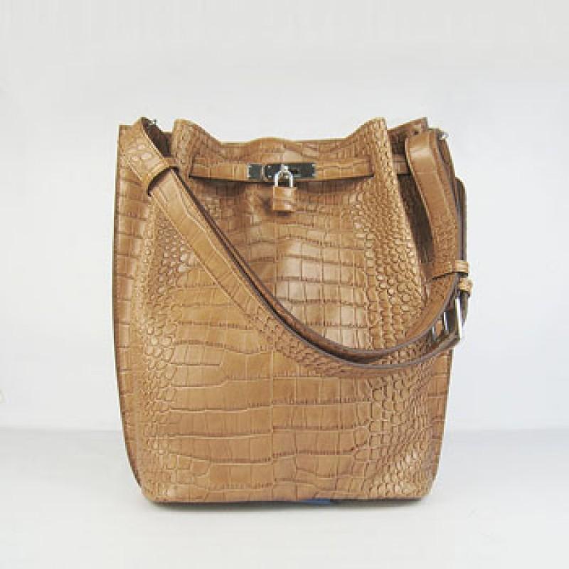 bd7b562d3ea ... italy hermes so kelly 24cm crocodile vein shoulder bag light coffee  silver decf6 9b094