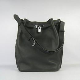 Hermes So Kelly 24cm Nappa Leather Shoulder Bag black Silver