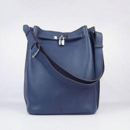 Hermes So Kelly 24cm Nappa Leather Shoulder Bag dark blue Silver