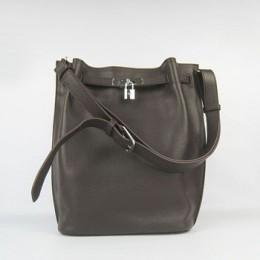 Hermes So Kelly 24cm Nappa Leather Shoulder Bag dark coffee Silver