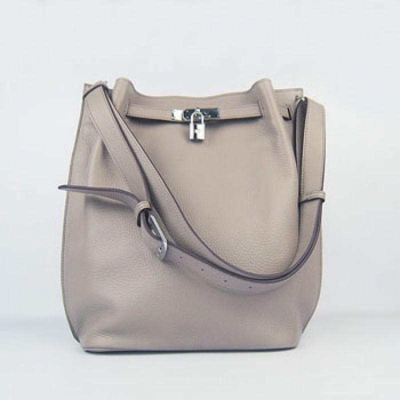 2c828279ce1f Hermes So Kelly 24cm Nappa Leather Shoulder Bag grey Silver